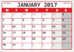 Календарь А4 на январь 2017 года /  A4 Calendar for January 2017