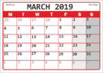Календарь для заметок на март 2019 года / Calendar for notes for March 2019
