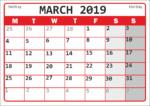 Календарь для заметок на март 2019 года / Calendar for notes for March 2019