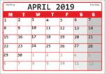 Календарь на апрель 2019 года / Calendar for April 2019