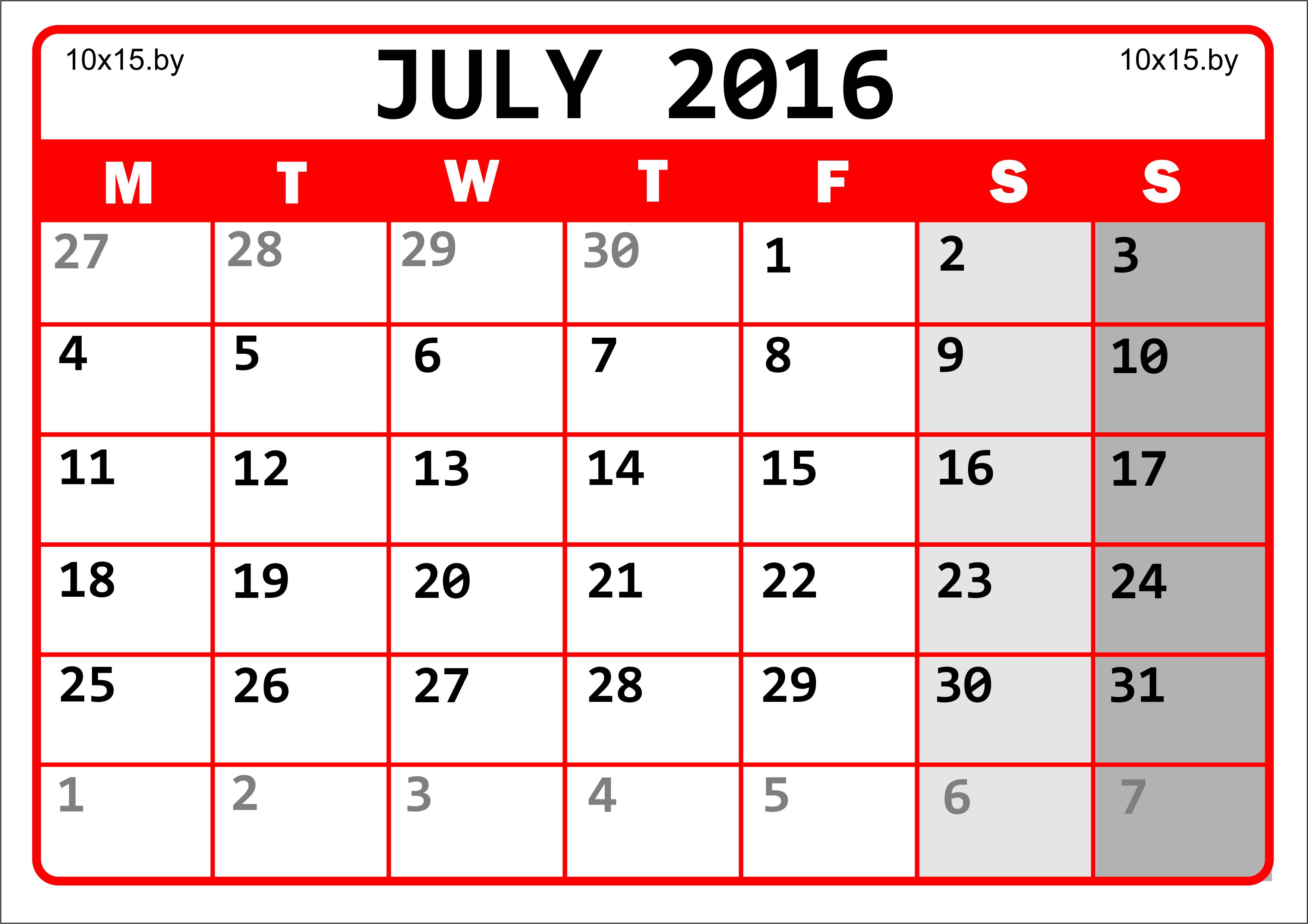Календарь на Июль 2016 года