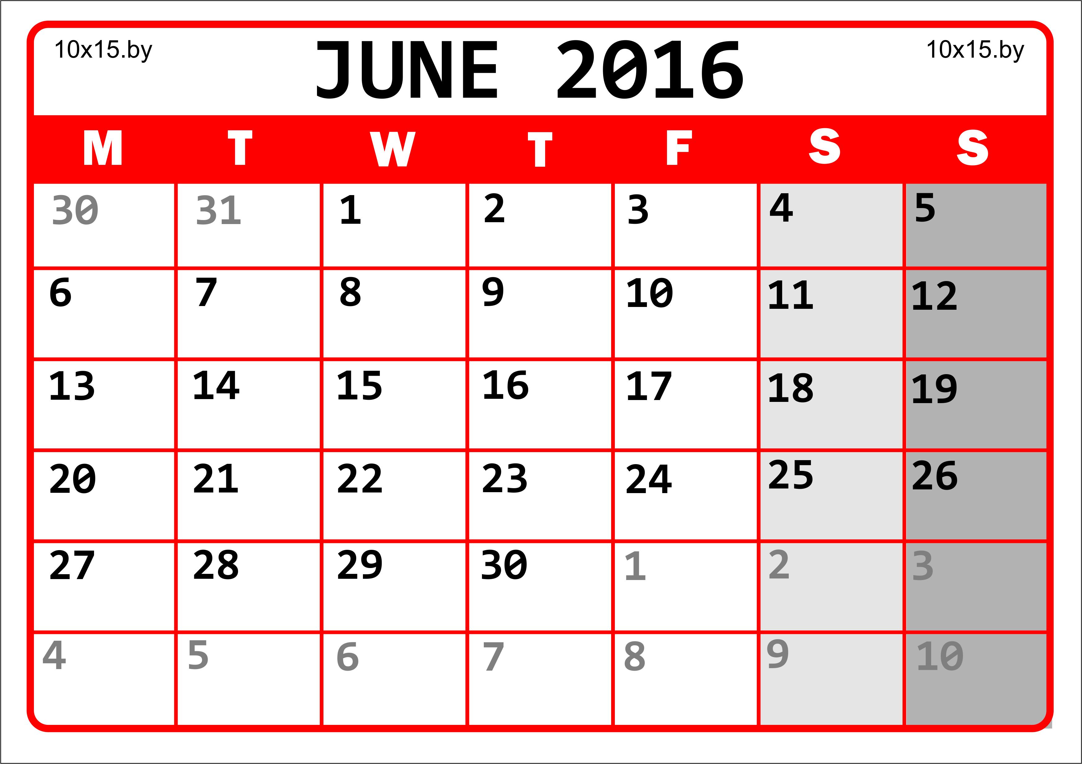 Календарь на июнь 2016 года для распечатки и заметок