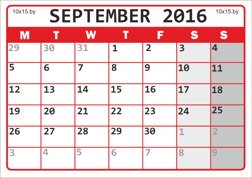 Calendar for September 2016 to print