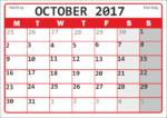 Календарь октябрь 2017 года распечатка / Calendar October 2017 printout